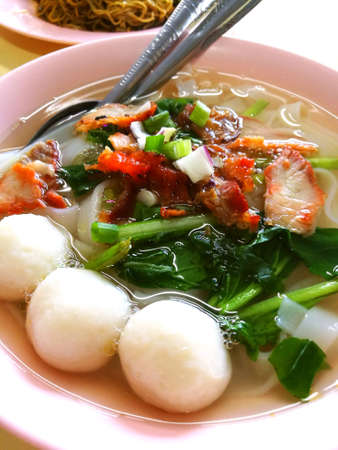 asian foods: A bowl of kueh tiao soup, a dilicious local food in malaysia. Stock Photo