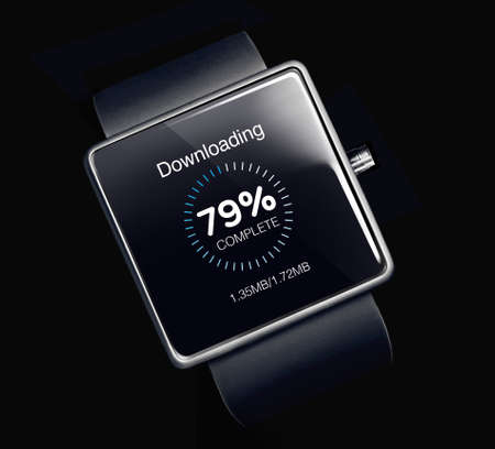 innovating: Download icon on smartwatch. A smartwatch is a wearable computing device that closely resembles a wristwatch or other time-keeping device.