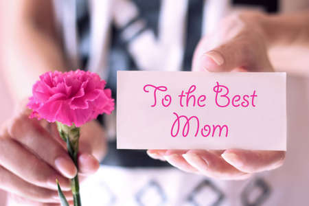 Hands holding a pink carnation flower with greeting card. Mothers Day is observed the second Sunday in May.