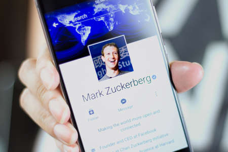 Johor, Malaysia - Feb 8, 2017: Mark Elliot Zuckerberg is the chairman, chief executive officer, and co-founder of Facebook, Feb 8, 2017 in Johor, Malaysia.