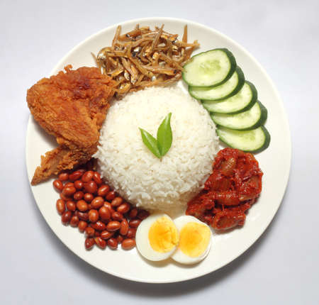 Nasi Lemak est un plat de riz imprégné de crème de noix de coco et chargé de poissons frits ou d'ailes de poulet. Banque d'images - 79275559
