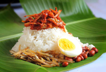 Nasi lemak is a Malay fragrant rice dish cooked in coconut milk and pandan leaf. It is commonly found in Malaysia. Foto de archivo
