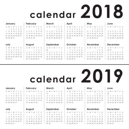 Year 2018 2019 Calendar Vector Design Template Simple And Clean