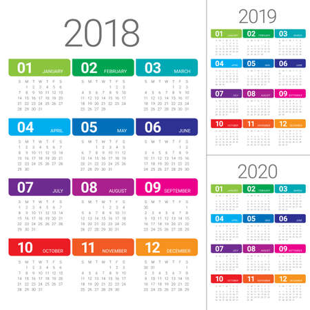 Year 2018 2019 2020 calendar vector design template, simple and clean design Ilustração