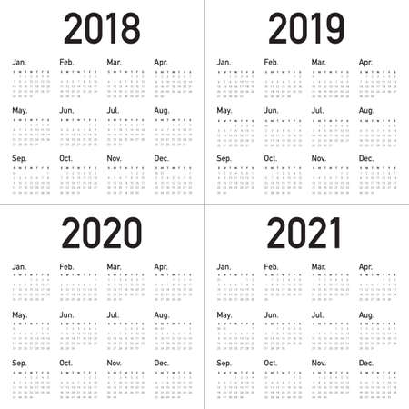 Year 2018 2019 2020 2021 calendar vector design template, simple and clean design