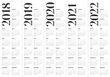 Year 2018 2019 2020 2021 2022 calendar vector design template, simple and clean design Иллюстрация