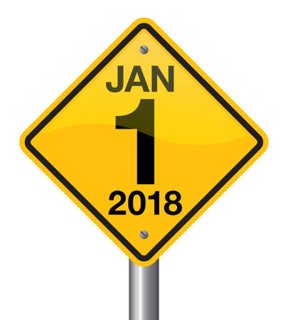 Vector Illustration Of Road Sign 2018 New Year Is Coming Wish