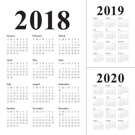 Year 2018 2019 2020 calendar vector design template, simple and clean design Иллюстрация