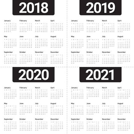 年 2018 2019 2020 2021 カレンダーベクトルデザインテンプレート、シンプルでクリーンなデザイン