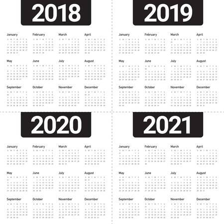 2018 년 2019 2020 2021 달력 벡터 디자인 템플릿, 간단하고 깨끗한 디자인 일러스트
