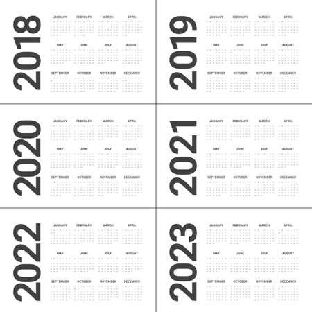 年 2018 2019 2020 2021 2022 2023 カレンダー ベクター デザイン テンプレート、シンプルでクリーンなデザイン