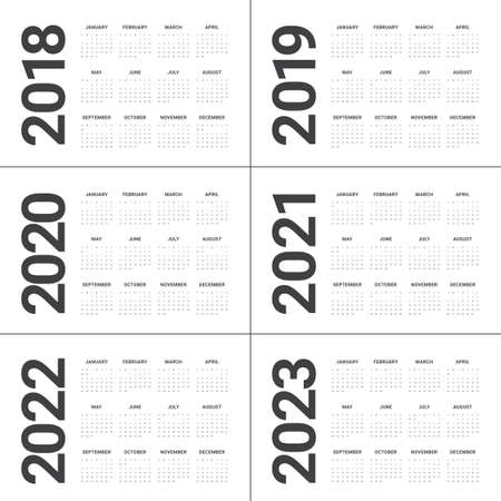 Year 2018 2019 2020 2021 2022 2023 calendar vector design template, simple and clean design