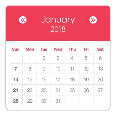 Kalender januari 2018. Stock Illustratie