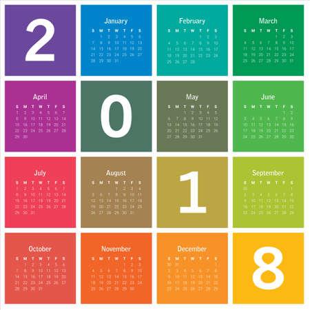 calendar design: Year 2018 calendar. Illustration