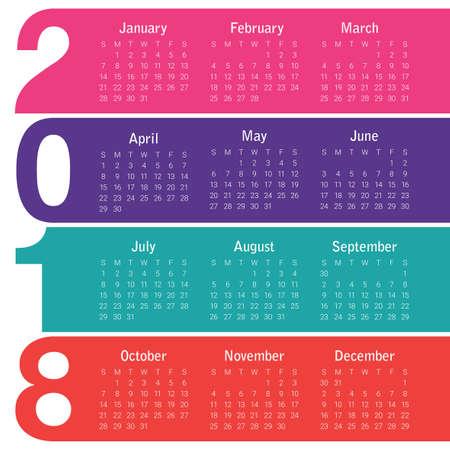 calendar design: Year 2018 calendar vector design template, simple and clean design Illustration