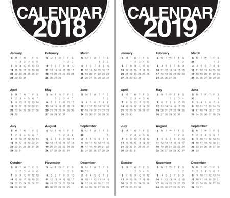calendar design: Year 2018 2019 calendar vector design template, simple and clean design