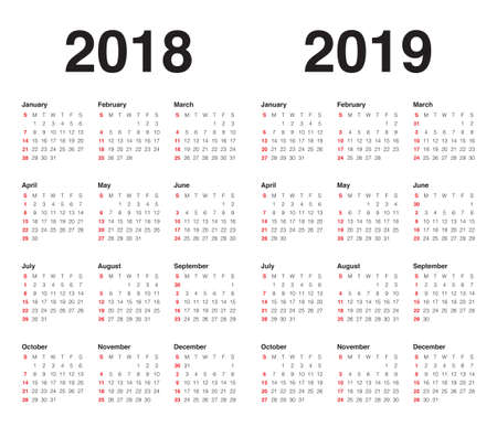 year 2018 2019 2020 2021 calendar vector design template simple