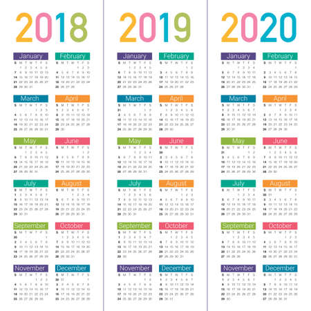 Year 2018 2019 2020 calendar vector design template, simple and clean design Illustration