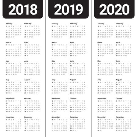 calendar design: Year 2018 2019 2020 calendar vector design template, simple and clean design Illustration