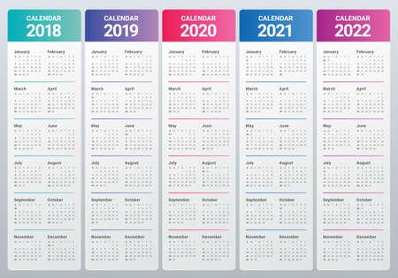 2018 년 2019 2020 2021 2022 달력 벡터 디자인 템플릿, 간단하고 깨끗한 디자인 일러스트