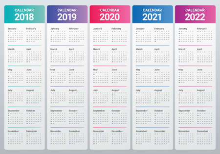 Year 2018 2019 2020 2021 2022 calendar vector design template, simple and clean design Illustration