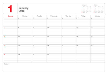 January 2018 calendar planner vector illustration, simple and clean design.