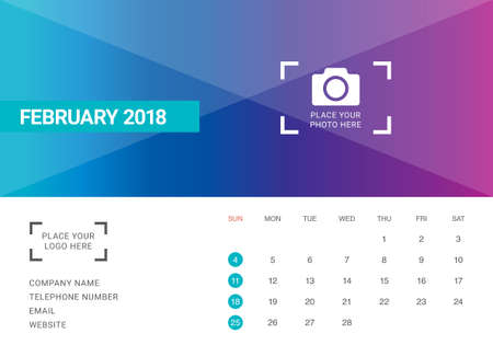 2018 년 2 월 데스크 캘린더 벡터 일러스트 레이 션, 간단 하 고 깨끗한 디자인.