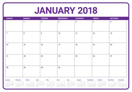 January 2018 Calendar Planner Vector Illustration Simple And