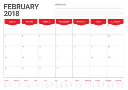 2018 년 2 월 일정 플래너 벡터 일러스트 레이 션, 간단 하 고 깨끗한 디자인.