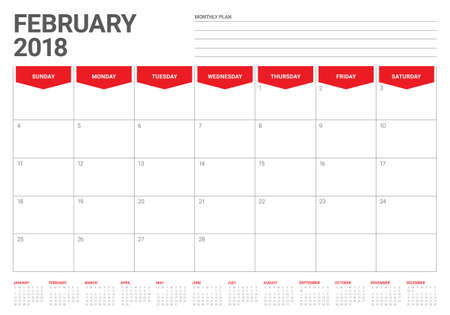 February 2018 calendar planner vector illustration, simple and clean design.