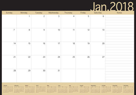 planning: January 2018 calendar planner vector illustration, simple and clean design.