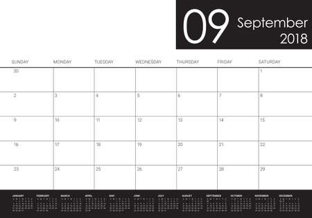 September 2018 planner calendar vector illustration, simple and clean design.