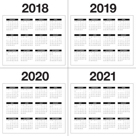 Year 2018 2019 2020 2021 Calendar Design Royalty Free Cliparts