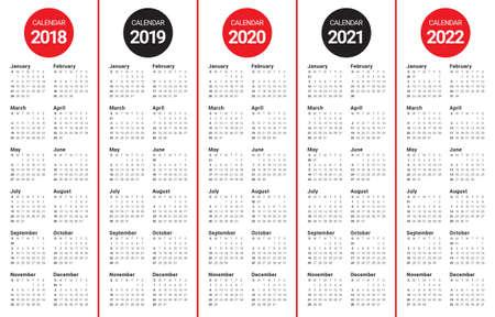 Year 2018 2019 2020 2021 calendar design.