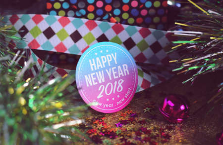 Happy new year 2018 with colorful decoration. New year is the first day of the year in the Gregorian calendar.