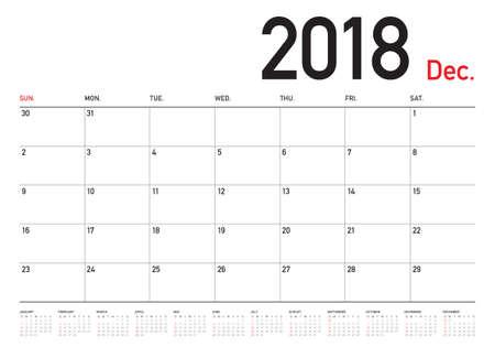 December 2018 planner calendar vector illustration, simple and clean design. Vettoriali