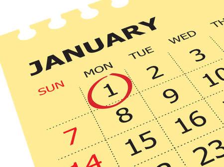 Schließen Sie oben vom ersten Tag des Jahres auf Tagebuchkalender. Neujahr ist der erste Tag des Jahres im Gregorianischen Kalender. Standard-Bild