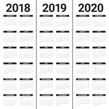 Year 2018 2019 2020 calendar vector design template, simple and clean design Ilustração