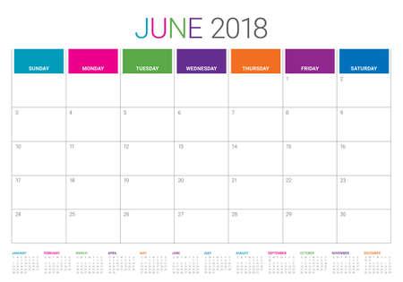 June 2018 calendar planner vector illustration, simple and clean design.  Illustration