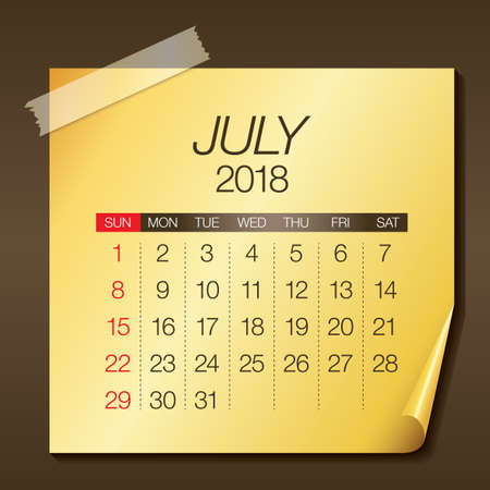 90765983 july 2018 calendar vector illustration simple and clean design