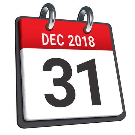 2018 년 12 월 31 일 비문 카드 보드 뒤집기 스톡 콘텐츠 - 91182848