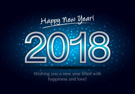 Happy New Year 2018, wish you all the best as always in this coming new year. Stock Vector - 91182611