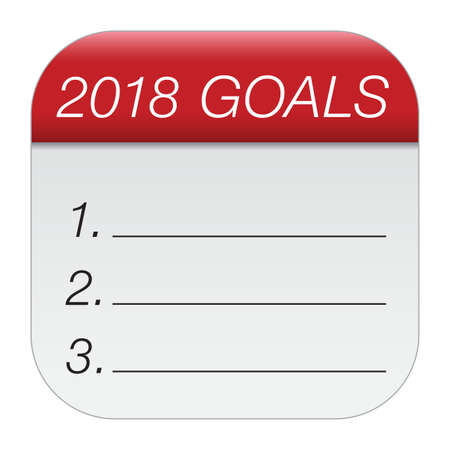 New Year's goals 2018. New Year is coming, wish you all the best as always in this coming new year. Stock Vector - 91300329