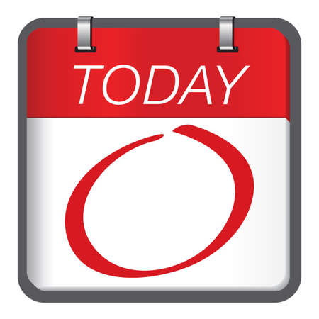 Today is a important and special day. Red circle marked important day calendar concept. Çizim