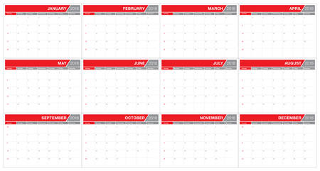 Year 2018 planner calendar vector illustration, simple and clean design.