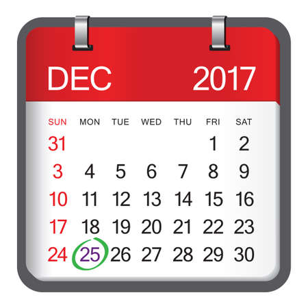 Christmas day calendar 2017. Christmas day is coming, wish you all the best as always in this coming new year.