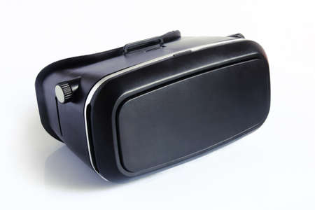 virtual reality glasses isolated on white background. Virtual reality is a computer-generated scenario that simulates a realistic experience.
