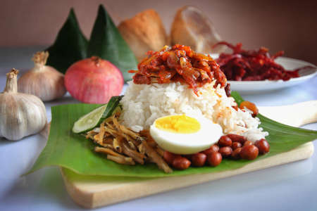 Nasi lemak is a Malay fragrant rice dish cooked in coconut milk and pandan leaf. It is commonly found in Malaysia. Stock Photo