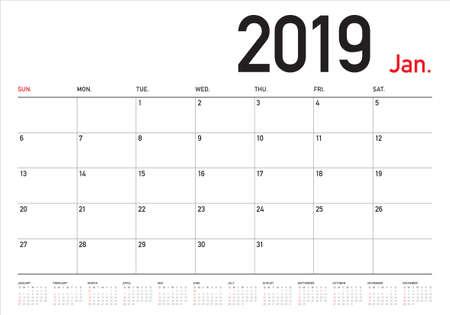 Illustration vectorielle de janvier 2019 calendrier de bureau, conception simple et propre. Vecteurs