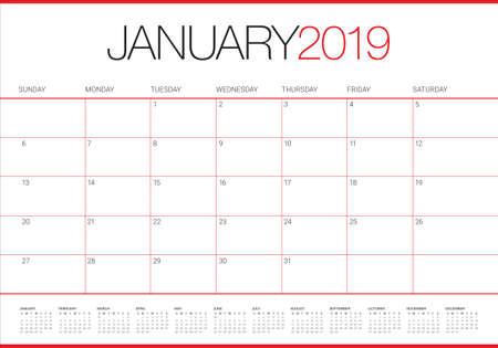 Illustration vectorielle de janvier 2019 calendrier de bureau, design simple et épuré. Vecteurs